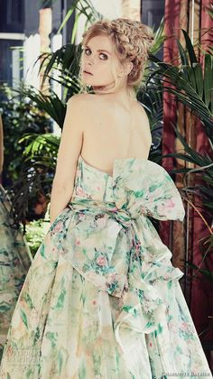 charlotte balbier 2018 bridal strapless sweetheart neckline wrap over bodice romantic colored green a line wedding dress ribbon back chapel train (jayde) zbv -- Charlotte Balbier 2018 Wedding Dresses Chiffon Wedding Gowns, Bohemian Wedding Dresses, Colored Wedding Dresses, Bridal Gowns, Floral Wedding, Boho Wedding, Summer Wedding, Charlotte Balbier, Green Gown