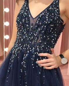 Navy Blue Prom Dresses 2019 Long V Neck Beading Evening Party Dresses Navy Blue Prom Dress Long, Backless Homecoming Dresses, Prom Dresses Blue, Evening Dresses, Formal Dresses, Banquet Dresses, Cute Dresses For Party, Bodycon Dress With Sleeves, Evening Party