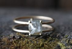 Natural Rose Cut Silver-Clear Cushion Diamond Ring- double band