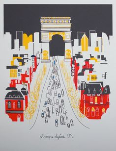 CHAMPS ELYSEES Paris holiday limited release print by albiedesigns, $35.00