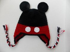 mouse hat Crochet Mickey Mouse Hat in BlackRed by StephanDesign Crochet Baby Boy Hat, Crochet Beanie Hat, Baby Boy Hats, Crochet For Kids, Crochet Hats, Crochet Mickey Mouse, Mickey Mouse Hat, Christmas Photo Props, Christmas Gifts