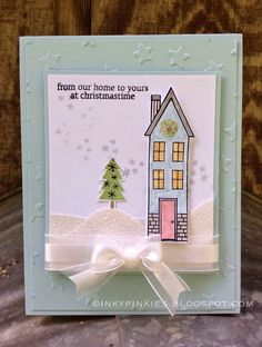 Blue Christmas featuring Holiday Home Bundle from Stampin' Up! Holiday Mini 2014 by Inkypinkies.