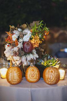 Pumpkin Halloween Wedding Decor, Fall Wedding Bouquet by Birch & Bone, Photographer Rad + In Love, Quail Ranch Wedding Venue Wedding Reception Flowers, Wedding Art, Gifts For Wedding Party, Wedding Reception Decorations, Floral Wedding, Fall Wedding, Wedding Colors, Reception Ideas, Wedding Bouquet
