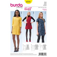 Burda 6721 Misses' Dress sewing pattern Burda Sewing Patterns, Clothing Patterns, Sewing Clothes Women, Ladies Clothes, Shift Dress Pattern, Sewing Courses, Make Your Own Clothes, Dress Making Patterns, Miss Dress