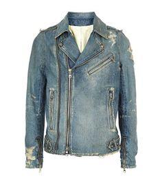 BALMAIN Distressed Denim Biker Jacket. #balmain #cloth #