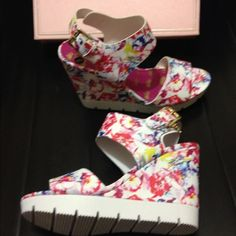 Nwt Juicy Couture flower wedges no trades please No flaws new too big on me so I posted a pic with the black pair on its the exact style Juicy Couture Shoes Wedges