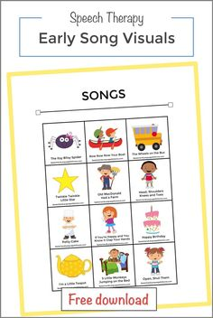 Early Song Picture Cards — Speech and Language at Home Preschool Speech Therapy, Preschool Songs, Speech Therapy Activities, Speech Language Pathology, Speech And Language, Play Therapy, Preschool Language Activities, Kids Songs, Sign Language