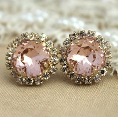Rhinestone classic earrings Pink stud Petite vintage style - 14k 1 micron Thick plated gold post earrings real swarovski rhinestones .