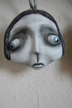Freaky Face Hanging Clay Sculpture 'Penny' by GraceWatsonArt
