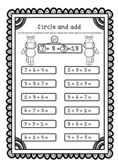 Adding Three Numbers (Add 3 Numbers) Worksheets / Printables - Make Ten First Math Addition Worksheets, First Grade Math Worksheets, Second Grade Math, Math Pages, Making Ten, Math School, Math Intervention, Math Strategies, Teaching Math