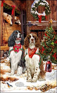 """Springer Spaniel Christmas Holiday Cards are 8 1/2"""" x 5 1/2"""" and come in packages of 12 cards. One design per package. All designs include envelopes, your personal message, and choice of greeting. Select the greeting of your choice from the drop-down menu above.Add your personal message to the Comments box during checkout."""