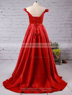 Off-the-shoulder Red Satin Sweep Train Sashes / Ribbons Gorgeous Prom Dress