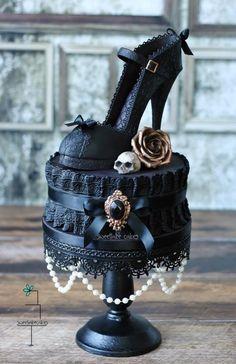 Gothic Black Lace Shoe cake