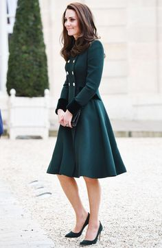 Kate Middleton St. Patrick's Day Outfit   Catherine Walker custom coat dress.