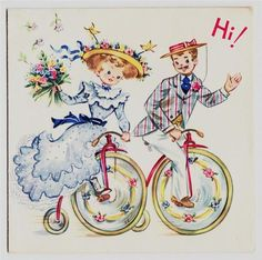 young couple on a penny farthing