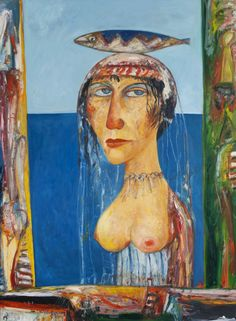 John Bellany - Woman with Fish on her Head Oil on Canvas, H x W John Bellany, Oil On Canvas, Art Projects, Fish, Woman, Google, Painting, Mascaras, Pisces