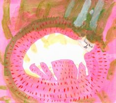 Sleeping Cat- Pink- Animal Painting- Cat Print- French- Sleeping Jacques by Jamie Shelman