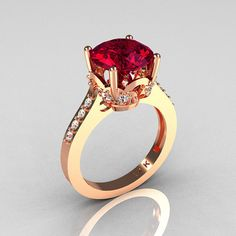 Classic 14K Rose Gold 30 Carat Burgundy from artmasters on Etsy