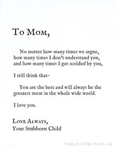 I Love You Mom Quotes From Daughter Tumblr : quotes about love for moms from daughter - Google Search Quotes ...