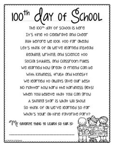 100th Day of School Poem Activity FREEBIE!