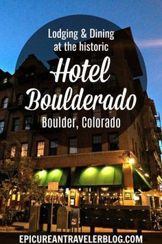 Visiting Boulder, Colorado? Consider staying or dining at the historic Hotel Boulderado in downtown Boulder. The hotel houses upscale restaurant Spruce Farm & Fish, pub The Corner Bar, and Prohibition-style speakeasy License No. 1. Travel in North America.