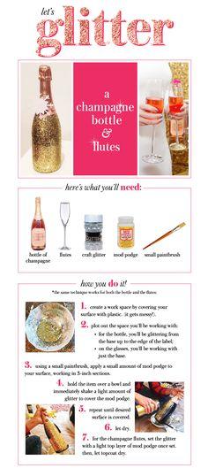 DIY glitter champagne bottle and flutes