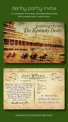 lori monahan borden design llc - New Ideas! Kentucky Derby party invite - postcard, mail merge addressing