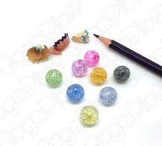 perle acrilico 12 mm effetto crackle colori misti, in vendita nel sito www.gugapluff.it
