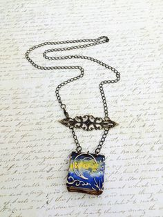Midnight Confessions Diary Necklace. Embossed, cold enameled antiqued brass book on brass chain. by GemJelly on Etsy