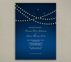 Wedding Invitation - Vineyard Inspired - STRING LIGHTS collection -  navy blue - Printable or Printed
