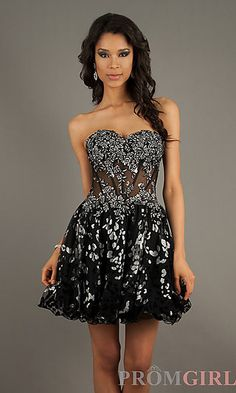Short Strapless Corset Homecoming Dress at PromGirl.com