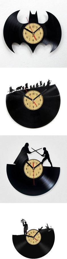 Handmade Vinyl Record Clock:: With over 50 different scenes to choose from, I'm sure that you will find at least 2 that would make your sad, empty wall space feel more loved. Vinyl Record Clock, Record Art, Vinyl Records, Record Crafts, Scroll Saw, Vinyl Art, Nerdy, Diy And Crafts, Projects To Try
