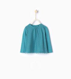 Billede 1 af T-shirt i organisk bomuld med blondestof fra Zara