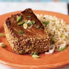 Sesame-Crusted Tuna with Ginger-Peanut Rice - So easy and wonderful flavors.  If you like your tuna rare, buy sushi-grade tuna. (Stabilization & Maintenance http://www.weightnomoredietcenter.com/siteimages/file/recipes/Stab3--SesameCrustedTunaGingerPeanutRice.pdf)