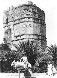 Fotografía de 1909 con panorámica de la Torre Blanca en Sevilla , frente al Hotel Macarena , donde al pie se ve en su caballo a un panadero proveniente seguramente de Alcalá de los Panaderos ( Hoy Alcalá de Guadaira ) en espera de clientela y a...