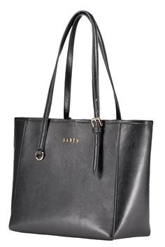 This black tote will make a timeless addition to your accessories portfolio. It's crafted from saffiano leather, and features two top handles and a spacious, surprise-and-delight contrasting gold PU-lined interior. There is a detachable nylon pocket lining that can be removed and worn separately with the cross-body handle included. Bella is beyond  the ultimate in style and function.