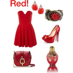 """Red"" by katelng on Polyvore"