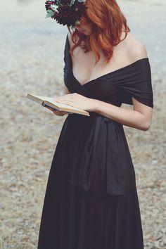 beautiful redhead reading