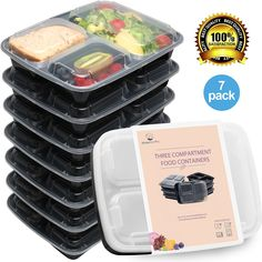 Amazon.com | Meal Prep Containers Set - Bento Lunch Boxes / Restaurant Food Storage - Portion Control - 7pk, 36oz: Snack Plates