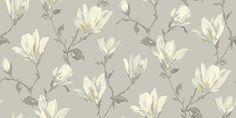 Lotus Neutral (632103) - Arthouse Wallpapers - Beautiful, painterly images of lotus flower branches.  Available in several colours - shown here in the smart shades of grey colourway.  Please request sample for true colour match.