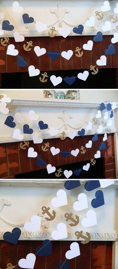Hearts and anchors nautical garland. Perfect for a beach-theme wedding or shower or as coastal nursery decor. [affiliate link]