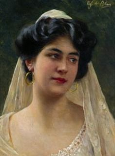 """Portrait of a Young Italian Lady"" -- by Eugene de Blaas (Italian-born Austrian, 1843–1932)"