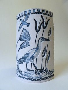 Vase inspired by Egyptian wall paintings, made for the British Museum shop by Linda Chew