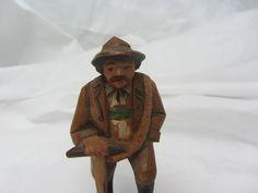 """Vintage Black Forest Hand Carved Hiker Mountain Man Wood 3 5""""   eBay"""