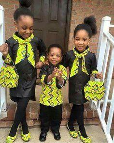 Kids in African print ~African fashion, Ankara, kitenge, African women dresses, African prints, African men's fashion, Nigerian style, Ghanaian fashion ~DKK