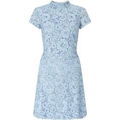 Blue Lace Skater Dress (97.575 COP) ❤ liked on Polyvore featuring dresses, blue lace dress, skater dress, blue dress, blue color dress and lacy dress