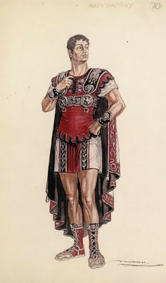 Vittorio Nino Novarese costume sketch for Cleopatra directed by Joseph L. Ancient Roman Clothing, Greek Clothing, Burton, Roman Sculpture, Roman Soldiers, Roman History, Fashion History, Rome Fashion, Sketch Design