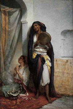 Algérie - Peintre Français   Hippolyte Lazerges(1817-1887), Huile sur toile  1877, Titre : Fatima la chanteuse