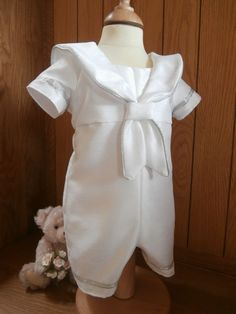 The Horatio sailor style christening outfit with silver trim.