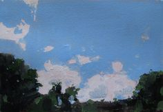Home Sky, July, Original Landscape Painting on Paper, Canada